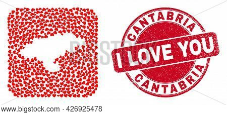 Vector Collage Cantabria Province Map Of Valentine Heart Items And Grunge Love Badge.
