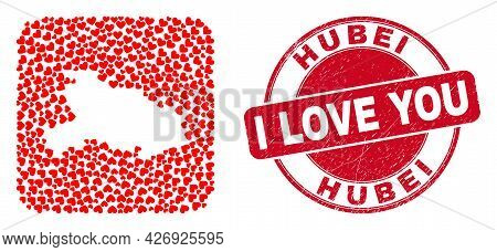 Vector Mosaic Hubei Province Map Of Love Heart Elements And Grunge Love Badge. Mosaic Geographic Hub