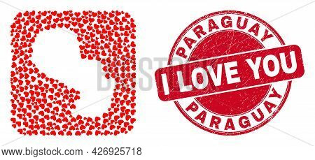 Vector Mosaic Paraguay Map Of Love Heart Elements And Grunge Love Seal. Collage Geographic Paraguay