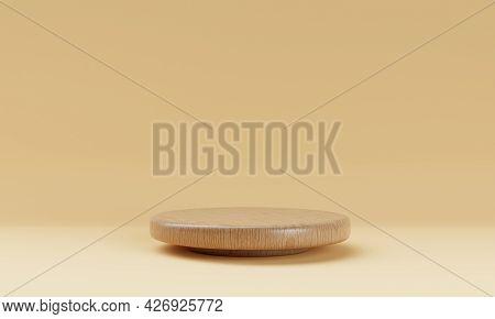 One Brown Wooden Round Cylinder Product Stage Podium On Orange Background. Minimal Fashion Theme. Ge