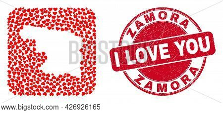 Vector Collage Zamora Province Map Of Love Heart Items And Grunge Love Seal Stamp. Collage Geographi