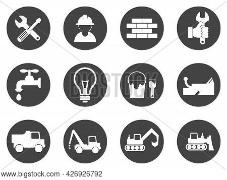 Badges And Icons Of Repair And Various Types Of Construction Work. Plumbing, Electrician, Locksmith,