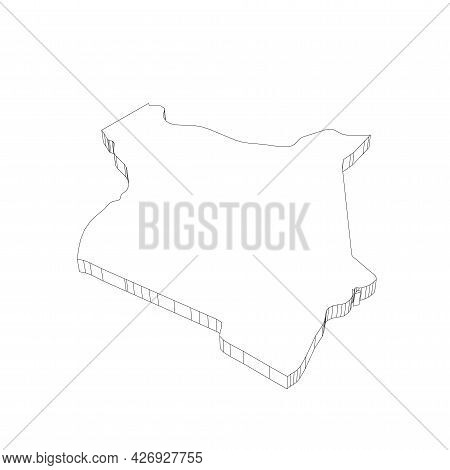 Kenya - 3d Black Thin Outline Silhouette Map Of Country Area. Simple Flat Vector Illustration.