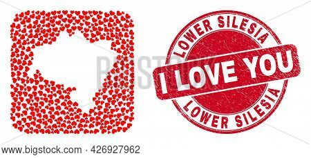 Vector Mosaic Lower Silesia Province Map Of Lovely Heart Items And Grunge Love Stamp. Collage Geogra