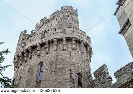 Warwick, Great Britain - September 15, 2014: Caesar Tower (14th Century) With A Dungeon Is A Medieva