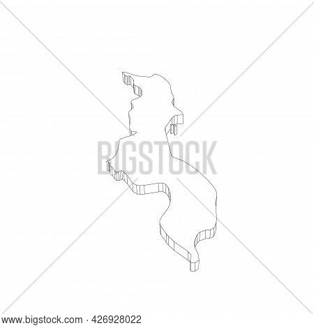 Malawi - 3d Black Thin Outline Silhouette Map Of Country Area. Simple Flat Vector Illustration.