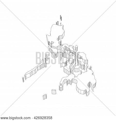 Philippines - 3d Black Thin Outline Silhouette Map Of Country Area. Simple Flat Vector Illustration.