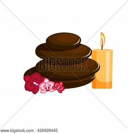 Red Orchid, Candle, With Stones. Zen Stones With Flower And Yellow Candle. Spa Concept. Massage Ston