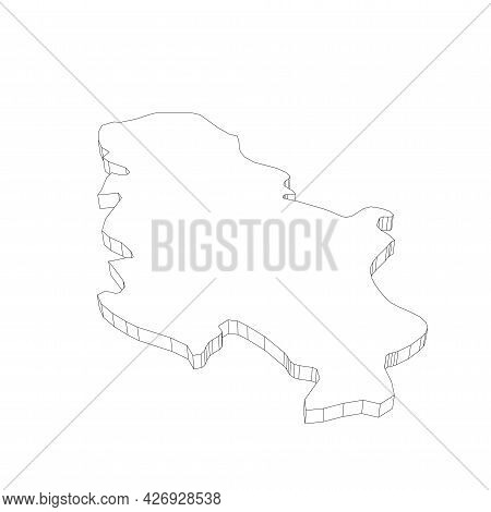 Serbia - 3d Black Thin Outline Silhouette Map Of Country Area. Simple Flat Vector Illustration.