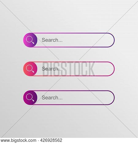 Search Bar Box Button Vector Element, Flat Design. Vector Illustration Bar With Colorful Gradient Or