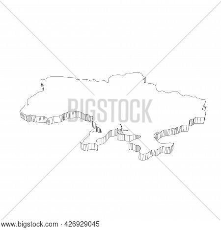 Ukraine - 3d Black Thin Outline Silhouette Map Of Country Area. Simple Flat Vector Illustration.
