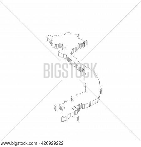 Vietnam - 3d Black Thin Outline Silhouette Map Of Country Area. Simple Flat Vector Illustration.