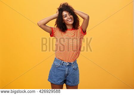 Girl Feeling Awesome Making Cool Hairstyle Posing Near Mirror Feeling Glad To Have Date Tonight Hold
