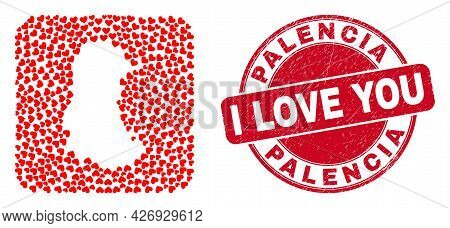 Vector Mosaic Palencia Province Map Of Valentine Heart Elements And Grunge Love Seal. Mosaic Geograp