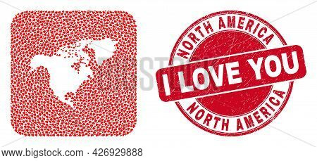 Vector Collage North America Map Of Love Heart Items And Grunge Love Stamp. Collage Geographic North