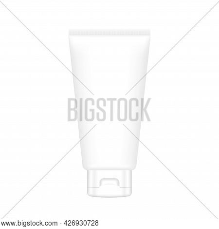 Cosmetic Tube Mock-up Packaging Isolated On White, Tube Template For Lotion Cream Gel Package Design