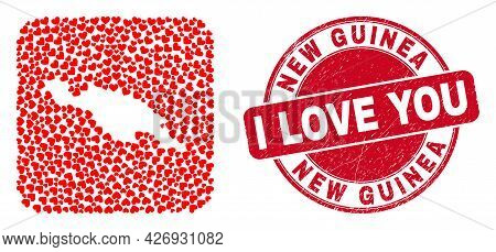 Vector Mosaic New Guinea Map Of Lovely Heart Elements And Grunge Love Stamp. Mosaic Geographic New G