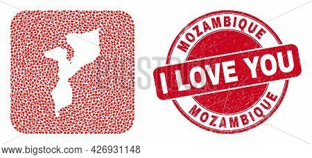 Vector Mosaic Mozambique Map Of Lovely Heart Items And Grunge Love Stamp. Mosaic Geographic Mozambiq
