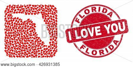 Vector Collage Florida State Map Of Love Heart Items And Grunge Love Stamp. Collage Geographic Flori