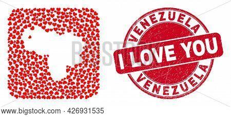 Vector Collage Venezuela Map Of Love Heart Items And Grunge Love Badge. Mosaic Geographic Venezuela
