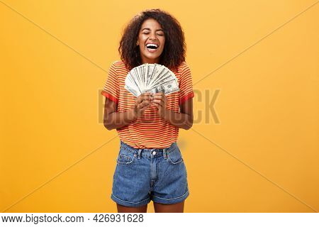 Finally Girl Rich. Portrait Of Happy Charismatic Stylish Young Female Model Receiving First Payment
