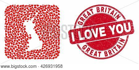 Vector Collage Great Britain Map Of Lovely Heart Items And Grunge Love Seal Stamp. Collage Geographi