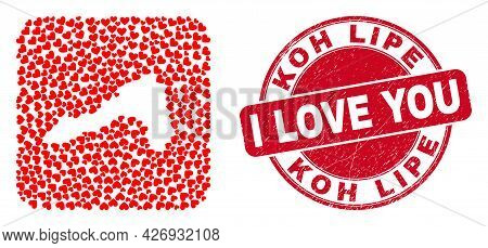 Vector Collage Koh Lipe Map Of Lovely Heart Items And Grunge Love Badge. Mosaic Geographic Koh Lipe