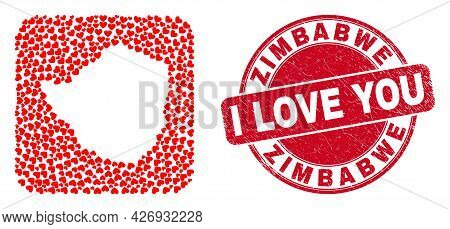 Vector Mosaic Zimbabwe Map Of Love Heart Items And Grunge Love Seal. Collage Geographic Zimbabwe Map