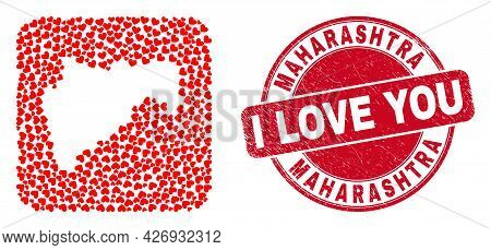 Vector Mosaic Maharashtra State Map Of Love Heart Items And Grunge Love Seal Stamp. Mosaic Geographi