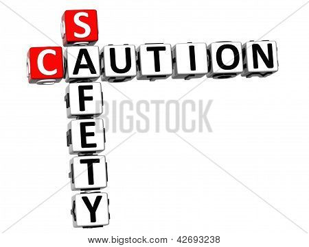 3D Caution Safety Crossword On White Background