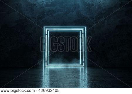 3d Rendering Of Framed Lighten Square Shape On Grunge Floor