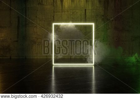 3d Rendering Of Yellow Lighten Square Shape With Light Spot And Smoke Clouds In Front Of Concrete Wa