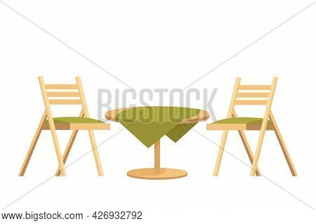 Wooden Round Table With Tablecloth And Two Chairs Textured In Cartoon Style Isolated On White Backgr