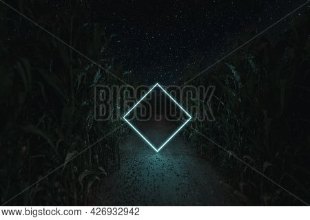 3d Rendering Of Lighten Rotated Square In The Middle Of Cornfield At Night