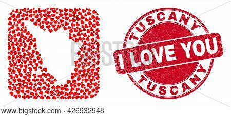 Vector Mosaic Tuscany Region Map Of Lovely Heart Items And Grunge Love Seal Stamp. Mosaic Geographic
