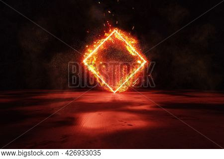 3d Rendering Of Red Lighten Rotated Square Shape In Fire Against Grunge Wall Background