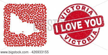 Vector Mosaic Australian Victoria Map Of Lovely Heart Items And Grunge Love Badge. Mosaic Geographic