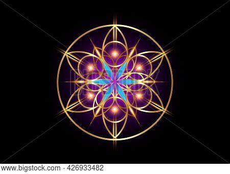 Flower Of Life Symbol Sacred Geometry. Gold Luxury Logo Icon Round Geometric Mystic Blue Lotus Manda