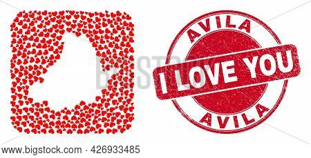Vector Mosaic Avila Province Map Of Valentine Heart Items And Grunge Love Stamp. Mosaic Geographic A