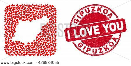 Vector Mosaic Gipuzkoa Province Map Of Love Heart Items And Grunge Love Stamp. Collage Geographic Gi