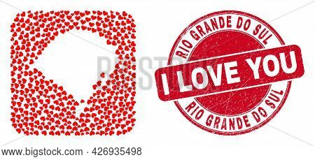 Vector Mosaic Rio Grande Do Sul State Map Of Love Heart Elements And Grunge Love Seal Stamp. Mosaic