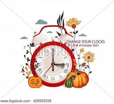 Autumn Daylight Saving Time. Autumn Landscape With Text Fall Back, The Hand Of The Clocks Turning To