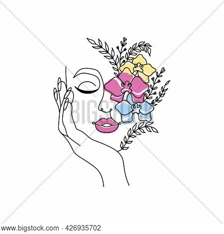 Line Art Women Face With Flowers. Social Media Cover Templates Collection For Posts, Stories Or Bann