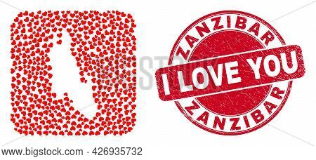 Vector Collage Zanzibar Island Map Of Lovely Heart Elements And Grunge Love Badge. Collage Geographi