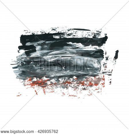 Vector Dark Black Grunge Watercolor, Ink Texture, Hand Painted Dry Brush Splashes, Strokes, Stains,