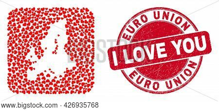 Vector Collage Euro Union Map Of Lovely Heart Elements And Grunge Love Seal Stamp. Mosaic Geographic