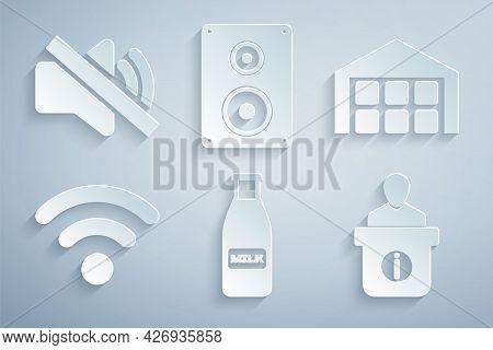 Set Glass Bottle Milk And Cap, Warehouse, Wi-fi Wireless Network, Information Desk, Stereo Speaker A