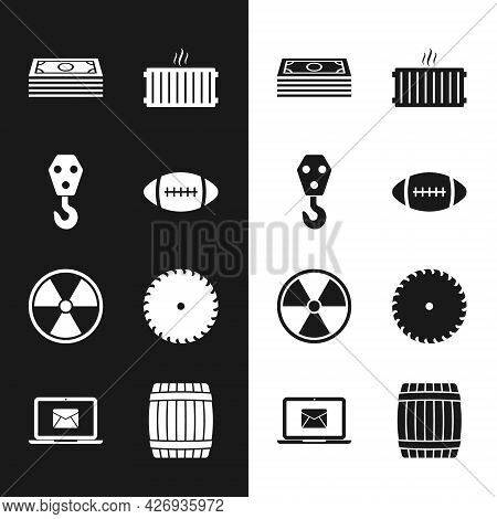 Set American Football Ball, Industrial Hook, Stacks Paper Money Cash, Heating Radiator, Radioactive