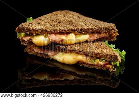 Delicious Sandwich With Cheese On Black Background