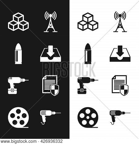 Set Download Inbox, Bullet, Isometric Cube, Antenna, Drill Machine And Document Protection Icon. Vec